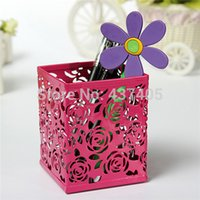 Wholesale 2014 Fashion Square Brush Pen Pencil Pot Holder Container Organizer Candy Colors Stylish Metal Lovely Hollow Rose Flower Pattern