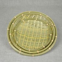bamboo tray material - Handmade bamboo basket fruit tray round shape natural healthy material dish diaplay basket