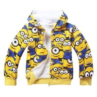 Wholesale New Children s Winter Outwear Kids Clothes Hoodie Minion Fleece Jackets Sweatshirt Despicable Minions Hoodies me Boys Warm Coat
