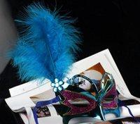 Wholesale 2015 Cosplay Masks Masquerade Masks Sequin Feather Half Mask For Women Mask Film Mask Dance Party Masks