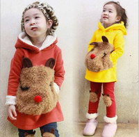 add set - Fall Winter Children Clothes Korean Girl Clothing Set Cartoon Bear Head Hoodies Leggings Kids Suit Thicken Add Wool set WD462