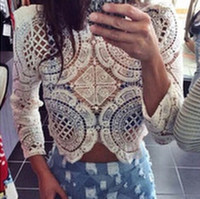 Wholesale 2015 Women Sexy Crochet Hollow Out Long Sleeve Blouse Vintage O neck Lace Casual White Black Patckwork Flowers Blouse back zippers mj