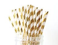 baby shower straws - 1000pcs Gold Foil Striped Paper Straws Wedding Christmas Baby Shower Birthday Holiday Party Metallic Cake Pop Sticks Cheap