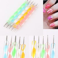 Wholesale French manicure Way Nail Art Dotting Pens Aluminum Marbleizing Painting Dot Tool for Nail Art Decoration