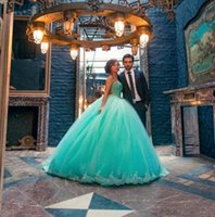 Wholesale Mint Green Quinceanera Dresses vestidos de anos Sweetheart Appliques Ball Gown Sweet Dresses