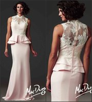 Reference Images High Neck Chiffon Modest 2015 New Pink Mother of the Bride Dresses High Neck Lace Bodice Beads Peplum Column Sheath Chiffon Sweep Train Custom Evening Gowns