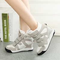 velcro - HOT sale brand new Womens High Top Faux Suede Wedge Heel Sneakers Velcro Boot Athletic Sport Shoes
