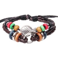 Cheap New hademade leather bracelets Chinese Ethnic poisonivy beads woven beaded infinity bracelets retro bohemian jewelry Valentine's Day gi