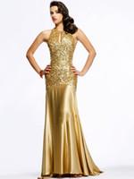Wholesale Gold Beads Sequins Crystal Prom Dresses Sheath Halter Sleeveless Ladies Party Dresses Floor Length Ruffle Elastic Satin Evening Dress SA224