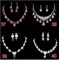 Wholesale 2015 new Brilliant Wedding Bridal Ruby And Crystal Rhinestone Fancy Choker Necklace Earring Jewelry Set FgrW