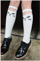 baby socks lace - 2015 New Hot Sale Baby Girls Knee High Cartoon Cat Lace Stitching Socks White Black Cotton Tube Socks Kids Princess stockings Pairs
