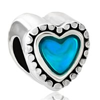 large hole beads - Large Hole Valentine s Day Blue Enamel Heart Love European bead Fit Pandora Chamilia Biagi Charm Bracelet