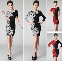 knit wear - Hot Sale Vintage Women Work Dresses Summer Rose Floral Print Knitted Cotton Female Bodycon Dress Fashion Work Wear Office Clothing
