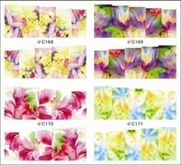 beautiful flower tattoos - sheets Fashion Beautiful Colorful Flower Flesh Styles Tips Nails Foils Nail Art Stickers Watermark Tattoos Nail Decals C168