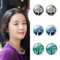 art earings - New Accessories Charm Jewelry Art Galaxy Tree Glass Cabochon Stud Earring Sliver Plated Earings Fashion Jewelry For Women