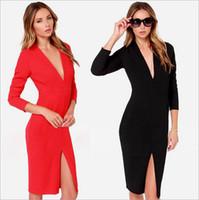 plus size club dresses - Low Cut Women Sexy Dress Long Sleeve Split C711 Night Club Party Dresses Fall Plus Size Clothes S XXL