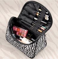 achat en gros de zèbre cosmétique-Lady Cosmetic Nail Art Sac à Outils Maquillage Case Toiletry Holder Organisateur de stockage Zebra Stripe Portable sac cosmétique sac de rangement Livraison gratuite