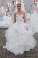 Wholesale Vogue Monique Lhuillier Sweetheart Ball Gown Wedding Dresses Tulle Crystal Beads Ruffles Backless Sweep Train Bridal Gown