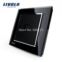 Wholesale LIVOLO Crystal Tempered Glass Panel Knight Black Wall Single telephone tel socket VL W291T TEL