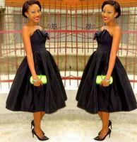 Wholesale Black Strapless Formal Prom Evening Dresses Tea Length Bow Taffeta Plus Size Bridal Party Cocktail Gowns Arabic Nigerian Cheap