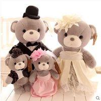 animal doll house toy - HOT SALE NEW Genuine plush toys Captain Morgan Teddy Bear couple wedding doll wedding dress yarn gift