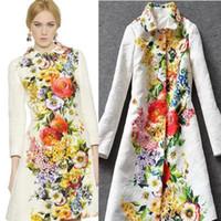 Wholesale 2016 Fashion Trench women Winter Autumn brand Women s Vintage Flower Print Long Trench Coat