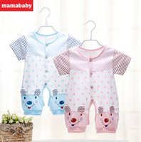 Wholesale Baby Clothes Summer Cotton Babysuits Short Sleeves Rompers Single Breasted Baby Clothing A1