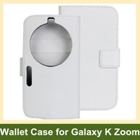 Wholesale Covers Galaxy Zoom - Wholesale Fashion PU Leather Wallet Flip Cover Case for Samsung Galaxy K Zoom C1158 C1116 with Stand Holder Free Shipping