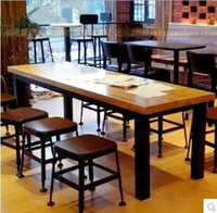 dining table and chair - American retro wood to do the old wrought iron bar table dining table and chairs rectangular tables desk hotel group