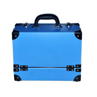 beauty trolley case - Pasco vintage blue Large multi layer cosmetics case professional cosmetics single beauty box high quality trolley case