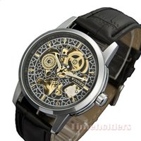 steampunk watches - Stainless watches relogio esqueleto mecanico leather bracelet steampunk skeleton watches for women crystal