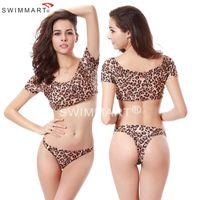 Cheap Allover Print Lycra Fabric Puckering Shoulders Swimwear Leopard Sexy Brazilian Bikini XXL