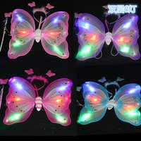 Wholesale Children dancing party props shiny butterfly wings spray lacquer dobule butterfly wing three piece sets kids toys for birthday party