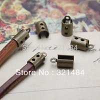 Cheap FREE SHIP 1000pc Antique brass bronze crimp tips cord end caps for flat leather cord 3mm 4mm