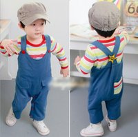Wholesale Baby Children Sets Cotton Boys Girls Clothing Cute Stripes Long Sleeve Wrapped Ass Shirt Long Strap Trousers Sets Kids Clothing L0181