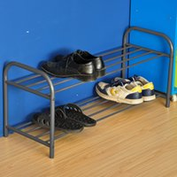 shoes rack shelf - New Layer Double Shoe Rack Storage Holders Metal Tube Shelf Organization livingroom Furniture Bathroom Shelves Silver color
