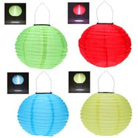 solar chinese lantern - 10 quot Solar Powered LED Light Chinese Nylon Fabric Lantern Lamp Lighting for Garden Outdoors Blue Red Yellow Green