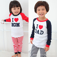 Wholesale High quality cotton Long Sleeve Kids Boys Girls Pajamas sleepwear sweet letter print children s clothing sets