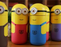 Wholesale New Arrive Children Water Cup Cartoon Minions Despicable Me Borosilicate Texture Suction Cup ml Christmas Gift Novelty Toy