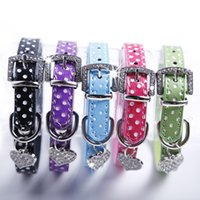 Wholesale Fashion Rhinstones Buckle Pendant Polka Dot Leather Pet Puppy Dog Collar