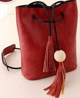 wood pellets - 2015 Women Fashion Retro Stitching Handbag Shoulder Bag Wood pellets Inclined bag Bucket bag PU Leather Women handbags KB3