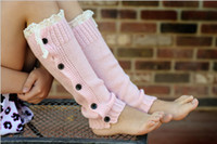 Wholesale fashion2014 Leg Warmers Christmas Girls Knit Leg Warmer Crochet Lace buttons Leg warmers Baby Boot Cuffs Cover Socks Girls Lace Warmers