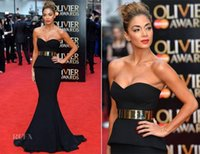 nicole scherzinger - 2015 Mermaid Black Evening Dresses Nicole Scherzinger Red Carpet Dresses Sexy Sweetheart Court Train Galia Lahav Formal Evening Dresses Sash