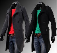 Wholesale New Fashion Men s Solid Color Casual Long Trench Coat Outerwear Turn down Collar Slim Double Breasted Man Overcoat Winter Jackets