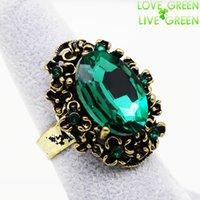 antique jewelry emerald - antique Bronze vintage Gold emerald crystal stone rhinestones adjustable ring finger jewelry women wedding fashion