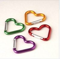 Wholesale 2000 Cute Love mini Heart Shaped Aluminum Alloy Locking Mounting Carabiner Snaphook Hook Holder mm S size free