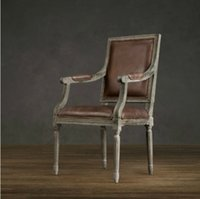 arm chair classic - American country retro solid wood dining furniture classic Italian cowhide square back arm dining chair type