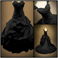 Wholesale Victorian Ball Gown Backless Sweetheart Bridal Plus Size Gothic Black Lace Appliques Wedding Dresses With Cap Sleeves Vestidos De Novia
