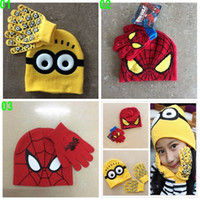 Wholesale 30 BBA4340 color kids minions knitted gloves beanie cartoon spiderman Hats Gloves despicable me Caps gloves Mittens christmas gifts
