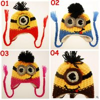 Wholesale 10pcs TOPB3877 new color kids minions Crochet beanie knits handmade beanies baby Despicable Me beanies caps hats christmas halloween gift